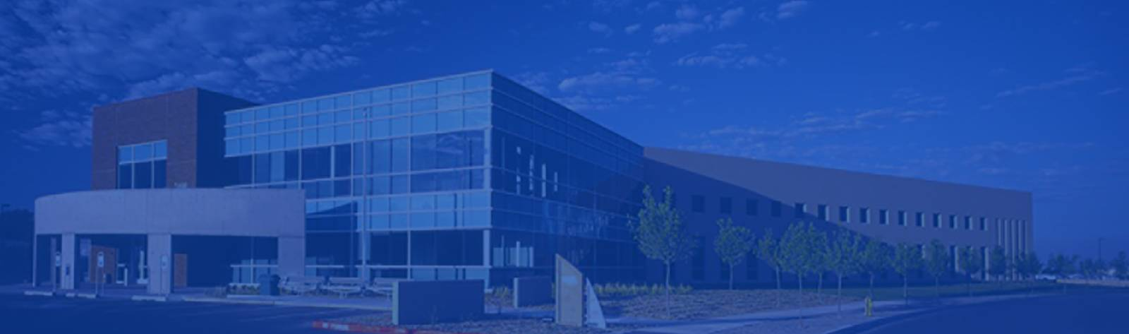 Large exterior Office Building with windows and trees in Albuquerque - Blue sheen